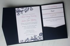 Like the color pattern   pink and navy wedding invitations