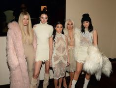 Pin for Later: The Kardashians Wear All White to Make Sure Yeezy Season 3 Debuts Just Right  Khloé Kardashian, Kendall Jenner, Kourtney Kardashian, Kim Kardashian, and Kylie Jenner.