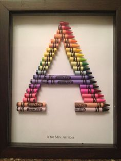 Crayon Monogram - first attempt Blush Nursery, Floral Nursery, Baby Nursery Decor, Nursery Wall Decals, Girl Nursery, Crayon Monogram, Crayon Letter, Crayon Art, Crayon Ideas
