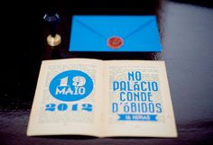 Wedding invitation made out of an old book page.  www.comobranco.com @marryinportugal #comobranco
