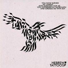 Ben asked us for Psalm 30 in the shape of a raven. #hebrew #hebrewtattoo #hebrew_tattoos #hebrewcalligraphy #bible #tattoo #calligraphytattoo #jewishtattoo #bibletattoo #tattoostories #jewishart #nametattoo #oldtestament #bird #birdtattoo #family #familytattoo #raven
