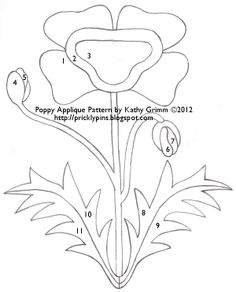 Free Applique Patterns   Poppy Applique Pattern by Kathy Grimm