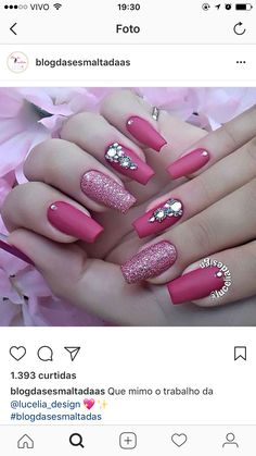 Nails design 2018 summer new 60 ideas Glam Nails, Bling Nails, Beauty Nails, Crazy Nails, Love Nails, My Nails, Nagel Bling, Gel Nagel Design, Diamond Nails