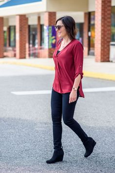 Fall Outfit Inspiration: burgundy blouse with black jeans and black wedge booties c/o /officialpayless/ #PaylessforStyle #ad