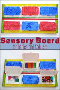 Make a simple DIY sensory board using old lids from baby wipes and a few craft supplies. You baby or toddler is sure to enjoy exploring all the different textures of it. Diy Sensory Toys, Sensory Toys For Autism, Sensory Bins, Sensory Activities, Infant Activities, Activities For Kids, Baby Sensory Board, Baby Sensory Play, Sensory Boards