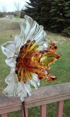 Gorgeous Amber Glass Flower For The Garden