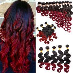 "Fashion Brazilian Human Hair Extension 3Bundles 16""18""20"" Body Wave 1B BURG# US #wigiss #HairExtension"