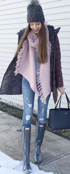 #winter #fashion / Dark Beanie / Purple Fringe Scarf / Ripped Skinny Jeans / Black Boots / Navy Leather Tote Bag