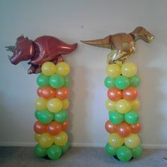Balloon Columns for a dinosaur birthday party Dinosaur Birthday Party, Boy Birthday Parties, Birthday Balloons, 4th Birthday, Balloon Columns, Balloon Arch, Kids Party Themes, Party Ideas, Dinosaur Balloons
