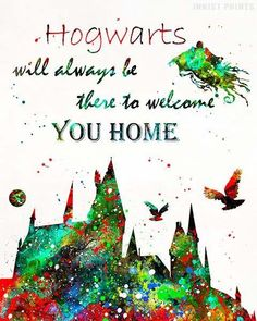 Hogwarts Castle, Harry Potter Watercolor Wall Art Poster - Prices from $9.95 - Click Photo for Details - #harrypotter #christmasgift #giftformom #decoration #harrypotterfan #HogwartsCastle