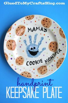 Handprint Gift Ideas For Kids To Make - Glued To My Crafts Collection! - Mama's Cookie Monster Keepsake Plate The Effective Pictures We Offer You About clay crafts A qua - Baby Crafts, Toddler Crafts, Crafts For Kids, Toddler Art, Keepsake Crafts, Baby Keepsake, Craft Gifts, Diy Gifts, Cookie Monster Party