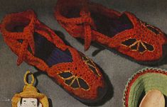 Television Slippers crochet pattern from Money-Makers For Your Bazaar, originally published by Coats & Clark, Book 278, in 1951.