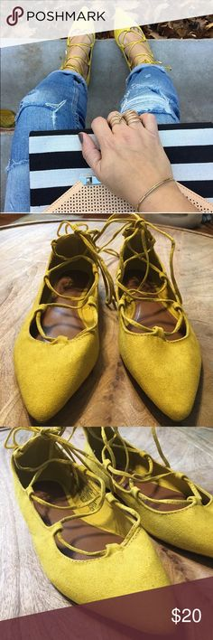 Old Navy Shoes Old Navy Lace Up Flats, faux suede, bright yellow. Like new, only worn for pics. Box not included. NO Trades. Old Navy Shoes Flats & Loafers