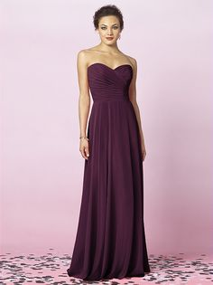 After Six Bridesmaids Style 6639    Fabric: Lux Chiffon purchase swatch    Strapless full length lux chiffon dress with draped bodice and full skirt.   Dress Colors: viewing - bordeaux