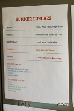 Not my lunch/snack choices, but a reminder to make a summer lunch/snack menu. Kids Summer Schedule, Summer Activities For Kids, Indoor Activities, Summer School, Summer Kids, School Lunch, Kids And Parenting, Parenting Hacks, Summer Snacks