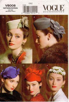 Vogue Hat Pattern Misses' Vintage Style Vintage Outfits, Vintage Dresses, Vintage Fashion, Steampunk Fashion, Gothic Fashion, Victorian Fashion, Fashion Fashion, Turbans, 1950s Hats
