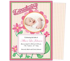 Birth Announcements Template : Daisy Baby Birth Announcement Templates. Edit with Word, Publisher, Apple iWork Pages, OpenOffice. Add your own special photo!