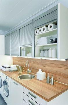 Waschküche hochziehbaren Schiebetüren Holzplatte