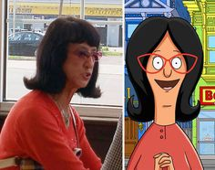 25 People That Look Like Cartoon Characters In Real Life - Linda Belcher of Bob's Burgers. Photo To Cartoon, Cartoon Mom, Cartoon People, Popular Cartoons, Famous Cartoons, Funny Cartoons, Carl Fredricksen, Ned Flanders, Peter Griffin