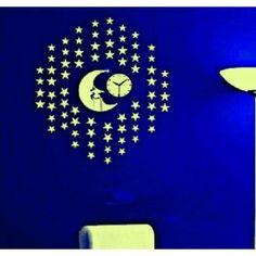 Moderné nástenné hodiny zlaté hviezdičky , nálepka na stenu .