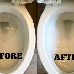 Before Image of a Toilet with Hard Water Ring around the water line in the bowl, with a after cleaning picture next to it showing toilet bowl without hard water stain Deep Cleaning Tips, House Cleaning Tips, Spring Cleaning, Cleaning Hacks, Cleaning Checklist, All You Need Is, That Way, Just In Case, Clean Baking Pans