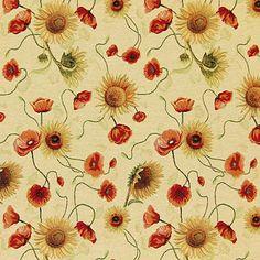 Gobelin Flowers 1 - Bawełna - Poliester - Poliakryl - jasny brąz