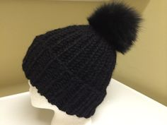 Chunky Black Alpaca Hat  Black Fox Fur Pom by HandmadeKnitsHats