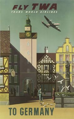 classic posters, free download, graphic design, retro prints, travel, travel posters, vintage, vintage posters, Fly TWA to Germany, Trans World Airlines - Vintage Travel Poster