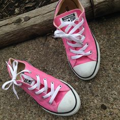 Lightly worn pink converses Kids size 3, fits adult size 6!  Loved these but never got much if a chance to wear them- so time to go!!!! Converse Shoes