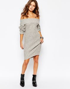 7a9aa5f3e5 Fashion Union Knitted Off Shoulder Jumper Dress at asos.com