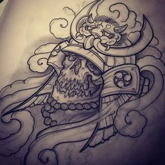 Samurai tattoo design.