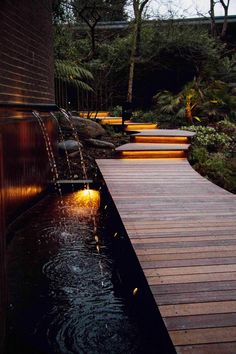 Rope lighting used to illuminate these garden steps. Courtyard Landscaping, Small Backyard Landscaping, Modern Backyard, Ponds Backyard, Patio Design, Exterior Design, Landscape Lighting Design, Garden Steps, Water Features In The Garden
