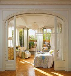 Terraced room as bedroom