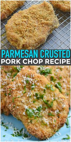 pork chop recipes Parmesan Crusted Pork Chops Recipe - Easy Dinner Recipe for a crowd via CourtneysSweets Baked Parmesan Pork Chops, Oven Pork Chops, Fried Pork Chops, Pork Chops Bread Crumbs, Parmesean Crusted Pork Chops, Air Fryer Pork Chops, Ranch Pork Chops, Boneless Pork Chops, Sauce Pizza