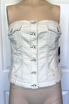 NWT - GUESS Off-White Strapless Button-up Corset Distressed Denim & Lace Top L #GUESS #Corset #CasualClubbing