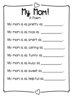 Mother's Day Simile Poem FREEBIE!