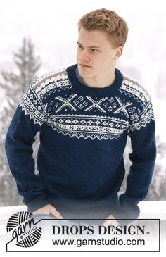 Nordic Midnight / DROPS Extra 0-809 - Knitted DROPS men's jumper with Norwegian pattern in Karisma.  Size: S - XXXL.