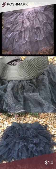 "EdgyChicBoutique Mini TuTu 🌹🌷 Black 5 Tiered Fully Lined TuTu. 2 1/2"" wide waistband with a flat measurement of 12 1/2"" but stretches comfortably to 17"". Strechy! Length is 18""-20"" depending how you design your wired ruffles. You can shape them and it'll hold til you reshape again. You can make this you ""Funky Fun Day"" look that everyone will love!  Make this TuTu your own style. Maybe with a Tee (from my closet) with Flops or flats or even some colorful wedges🌺GO AHEAD AND OFFER UP ☘️…"