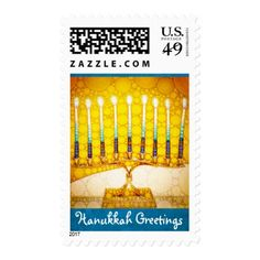 """Hanukkah Greetings"" menorah photo postage stamps - modern gifts cyo gift ideas personalize"