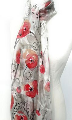 Red Poppies Scarf. Hand Painted Shawl. Silk Scarf. by TeresaMare
