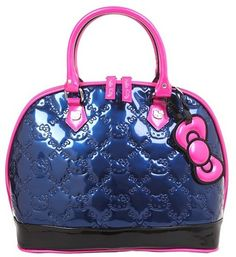 5d0a1a802c Blue with Black bottom and Pink handles and Pink bow Hello Kitty Handbags
