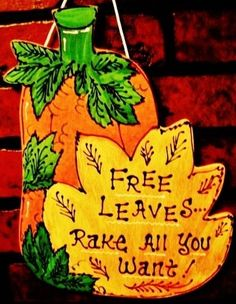FALL AUTUMN Free Leaves PUMPKIN Sign Holiday Country Wood Plaque Decor Hanger #HandcraftedbyMillerFamilyWoodcrafts