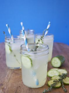 Thyme Lemonade 1 cup superfine sugar 1 bunch fresh thyme sprigs 2 cups fresh lemon juice Persian cucumber for garnish