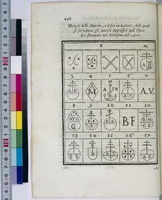 Collection of early printer's marks in Orlandi: Origine e progressi della stampa (1722)