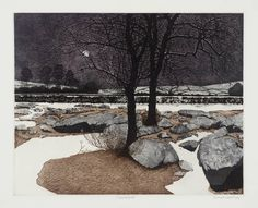 Philip Greenwood (born 1943) Title Snow Night Date 1974 Medium Intaglio print on paper Dimensions image: 440 x 546 mm Collection Tate