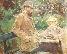 Morisot - Eugène Manet et sa fille Julie dans le jardin de Bougival (1881)