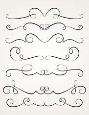 Calligraphic decorative elements. vector art illustration