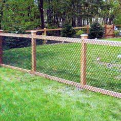 We install chain-link fences, chain-link gates, and chain-link structures. We offer a range of styles and colors, including chain-link mesh on wood post and rails. Diy Fence, Farm Fence, Backyard Fences, Garden Fencing, Backyard Landscaping, Fenced In Backyard Ideas, Decking Fence, Gabion Fence, Backyard Privacy