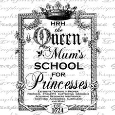 Queen Mums School for Princesses AD Crown Typography by Graphique, $1.00