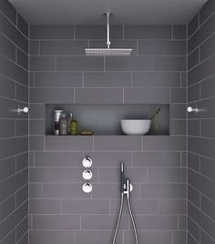 Large tiled, walk in showers- like the look of the large subway tiles. I want this in the en suite, when we extend.